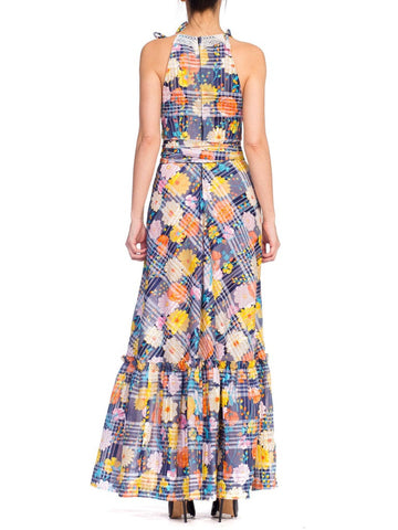 Morphew Collection Summer Maxi Dress Made From 1970S Floral Printed Lt Weight Jacquard & Lace