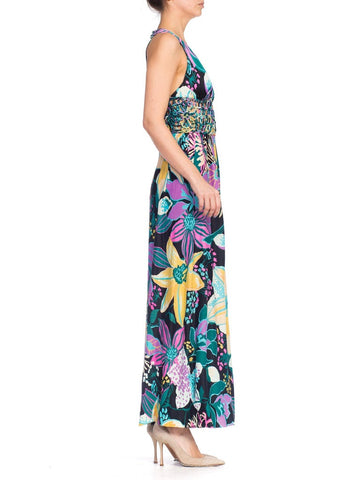 1970S Multicolor Tropical Large Floral Nylon Jersey Maxi Dress With Corded Lace Cut Out Midriff