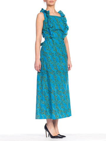 1960S Blue Hand Printed Cotton Butterfly Print Maxi Dress With Ruffles