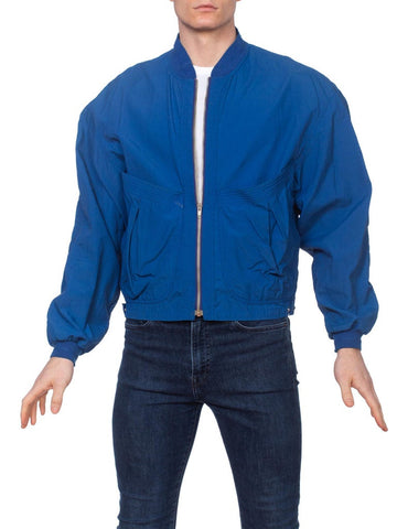 1980s Nylon Sport Track Jacket with Shoulder Pads