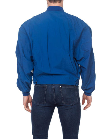 1980S Blue  Nylon Men's New Wave Sport Jacket With Utility Pockets