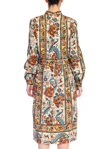 1960S BRENNER COUTURE Wool Twill Victorian Indian Paisley Stripe Print Dress