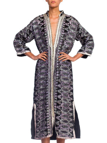 1970S Black Metallic Lurex Embroidered Satin Moroccan Kaftan