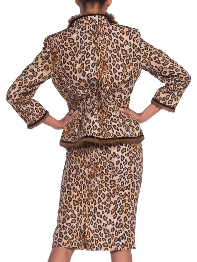 2000S ALEXANDER MCQUEEN Leopard Print Silk Taffeta Mink Trimmed Jacket & Dress Ensemble