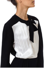 Albert Nipon 1980's Black And White Androgynous Dress