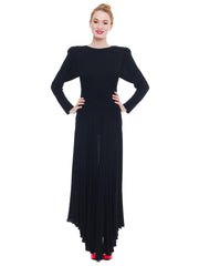 1980S Kevan Hall Couture Black Silk Jersey Gown