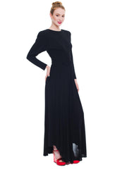 Wispy And Elegant Black Butterfly Long Dress