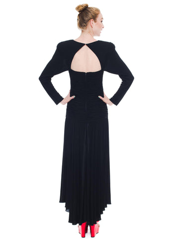 1980S KEVAN HALL COUTURE Black Silk Jersey Power Shoulder Long Sleeve Gown