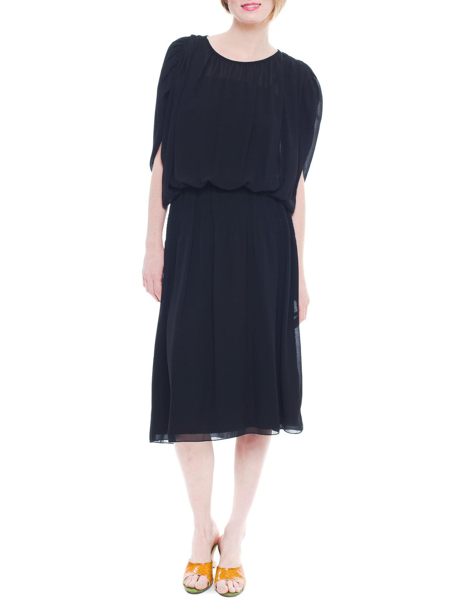 Relaxed And Chic Gauzy Black Pierre Cardin Dress