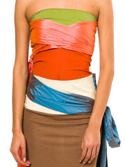 1990S Jean Paul Gaultier Multicolor Silk & Stretch Strapless Cocktail Dress With Taffeta Sashes