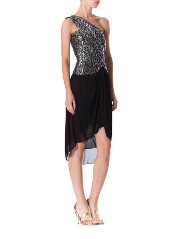 1980S Black & Silver Poly/Lurex Jacquard Couture Pleated One Shoulder Late Disco Cocktail Dress