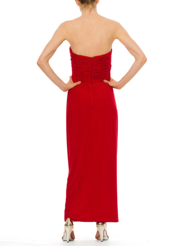 1980S FRED HAYMAN BEVERLY HILLS Lipstick Red Polyester Jersey Strapless & Draped Bodice Gown