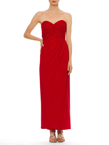Glamorous 1980s Scarlet Red Vintage Fred Hayman Gown