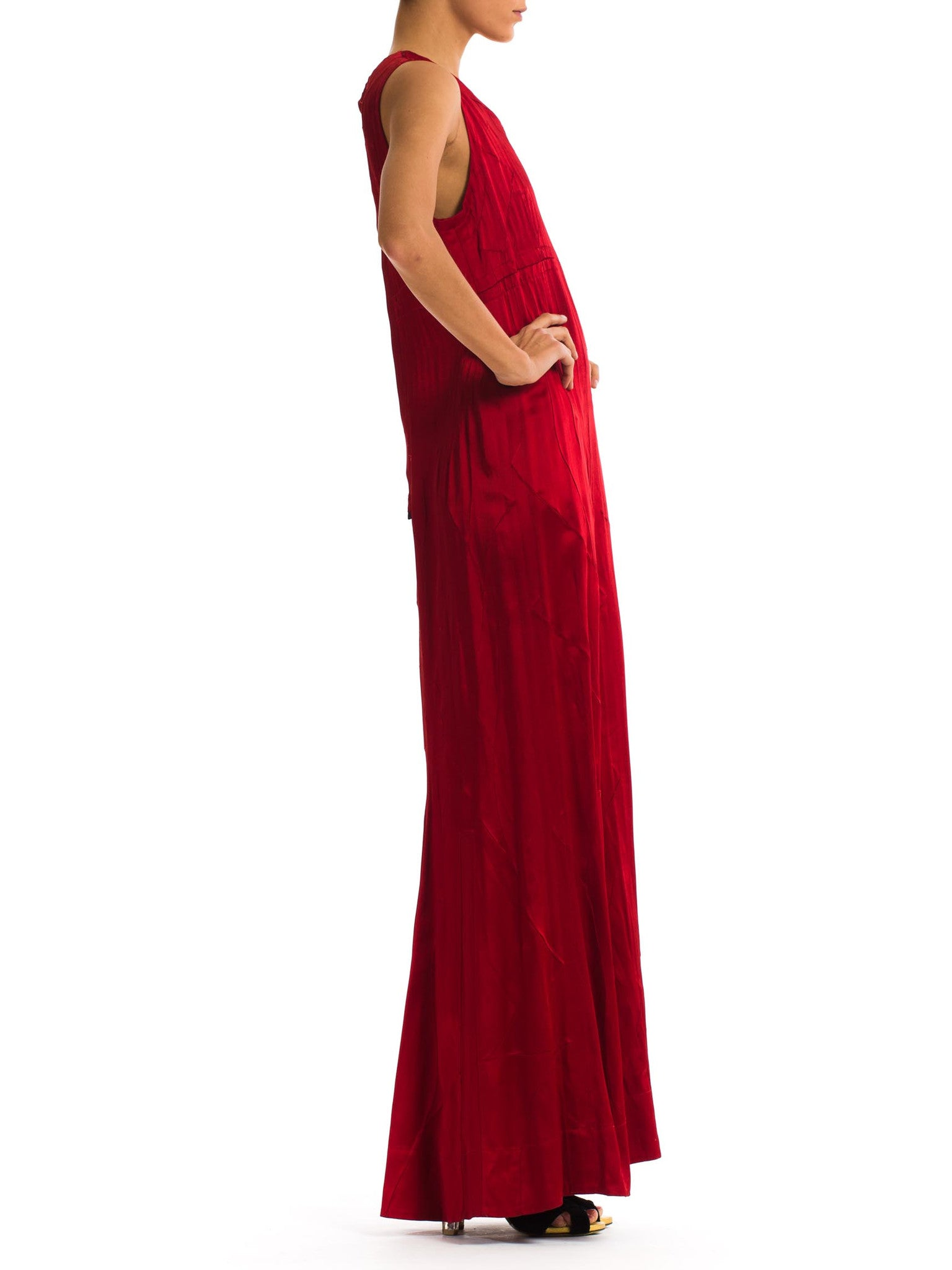 1990S Deep Red Rayon Crepe Back Satin Modernist Gown With Unique Pin Tuck Embroidered Vines