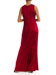 1990s Long Burgundy Silk Gown