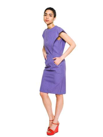 1980S Pierre Cardin Purple Poly/Viscose Sculptural Shoulder  Dress With Pockets