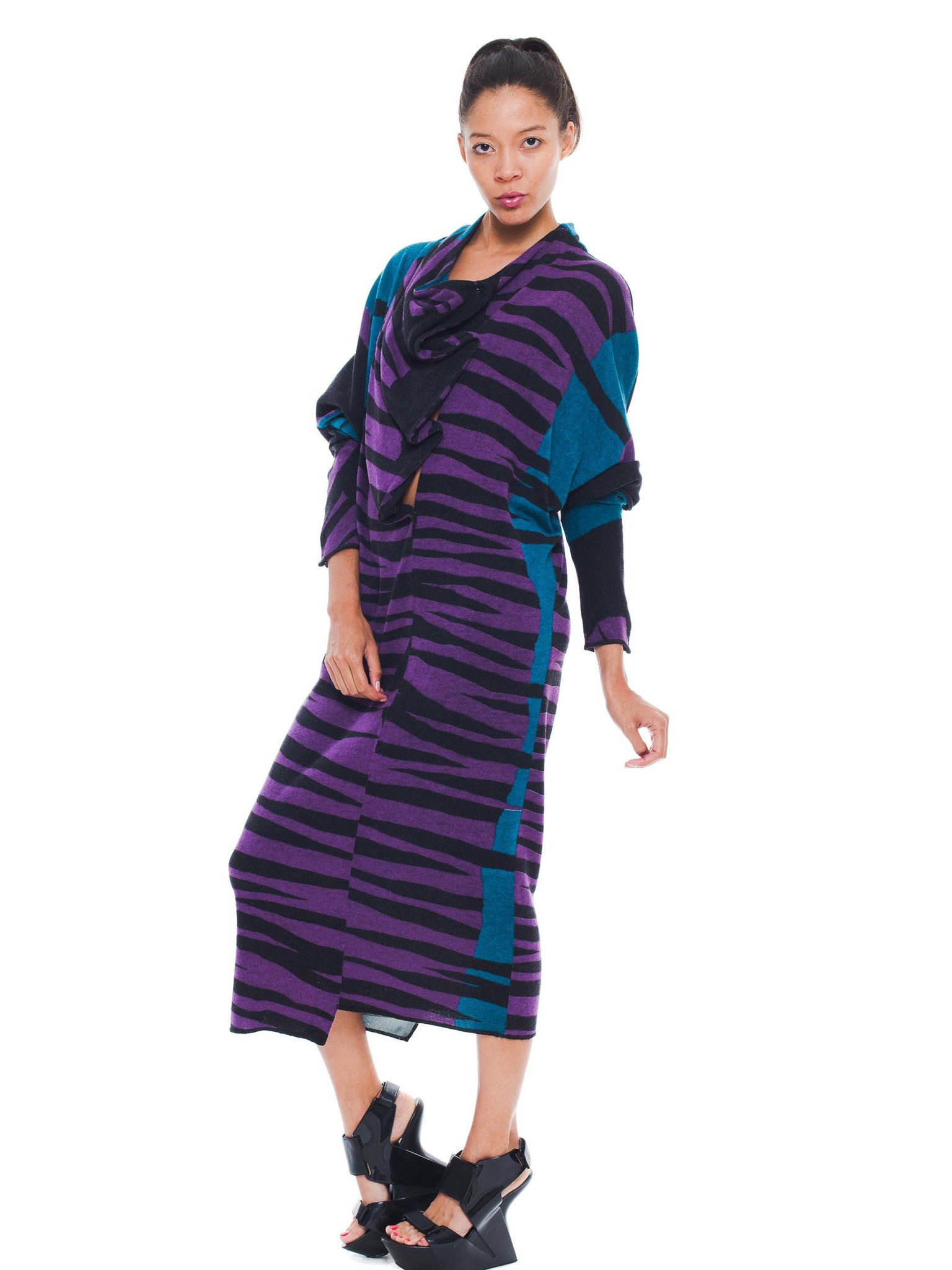 1980S JUNKO KOSHINO Purple & Blue Zebra  Angora Wool Knit Dolman Sweater Dress With Draped Snap Front