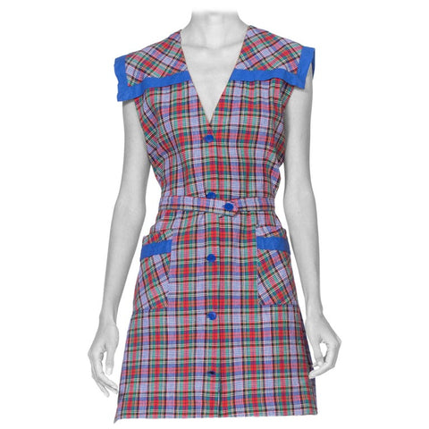1940's Cotton Plaid Sailor Collar Shirt Dress