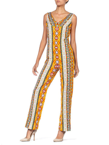 1970'S Orange Geometric Stretchy Jumpsuits