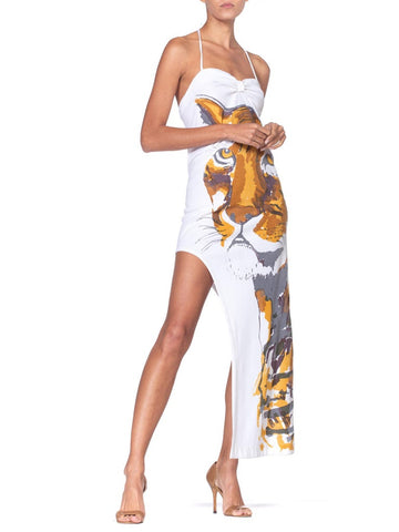 1970'S White Halter Neck Dress With Printed Tiger