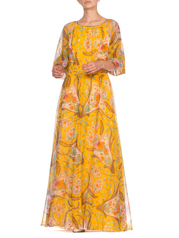 1970'S Indian Paisley Floral Dress