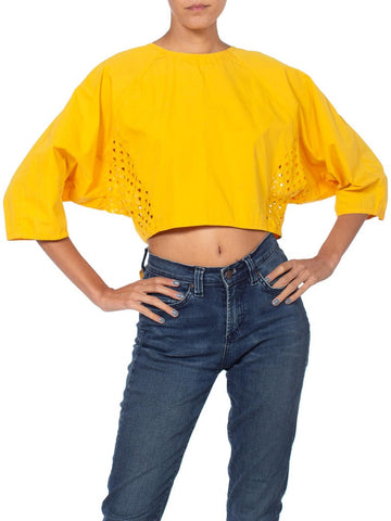 1980'S Yellow Cotton Knot Top