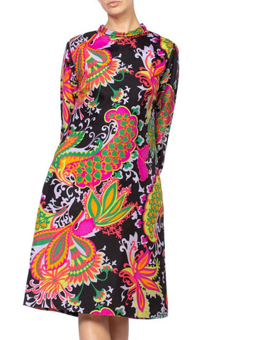 1960'S Black Multicolored Acetate Dupioni Mod Psychedelic Neon Floral Paisley Dress