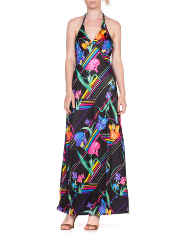 1970'S Polyester Disco Neon Tropical Halter Maxi Dress