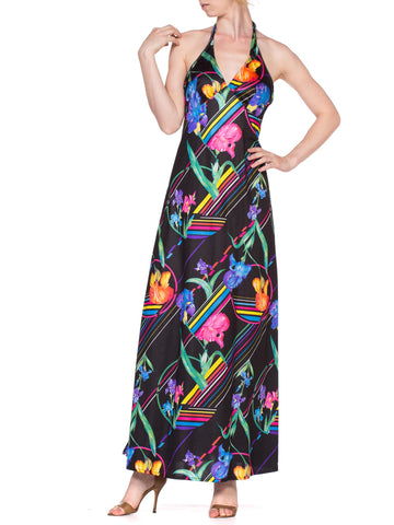 1970'S Stretchy Polyester Disco Halter Dress