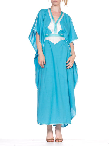 1980'S Aqua Blue & White Cotton Blend North African Kaftan With Cording Embroidery