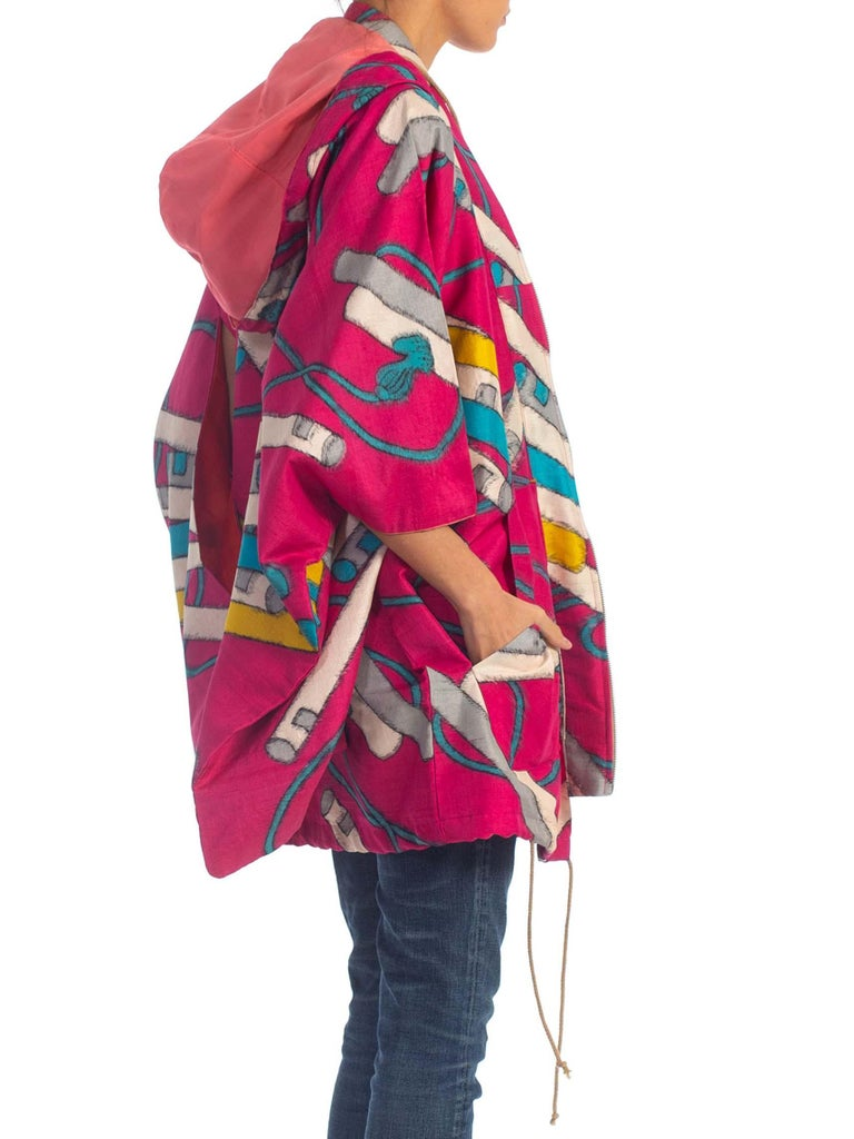 2000S Hot Pink Hand Woven Silk Hoodie Made From Mid-Century Japanese Ikat Kimono