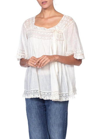 1910/20'S Antique Cotton + Lace Boho Top