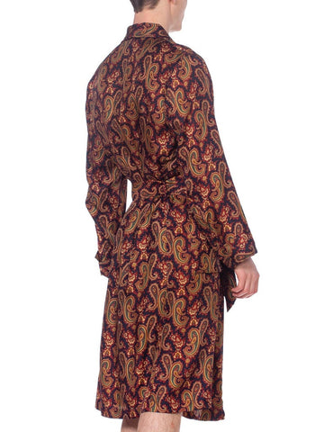 1970'S Mens Paisley Silk Robe