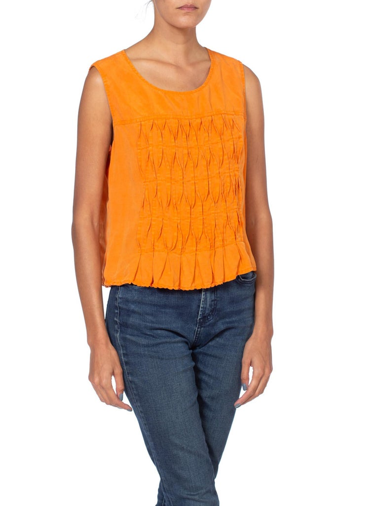 Orange Pleated Silk 80'S Top