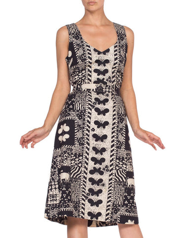 1960'S Black & White Butterfly Print Cotton Dress