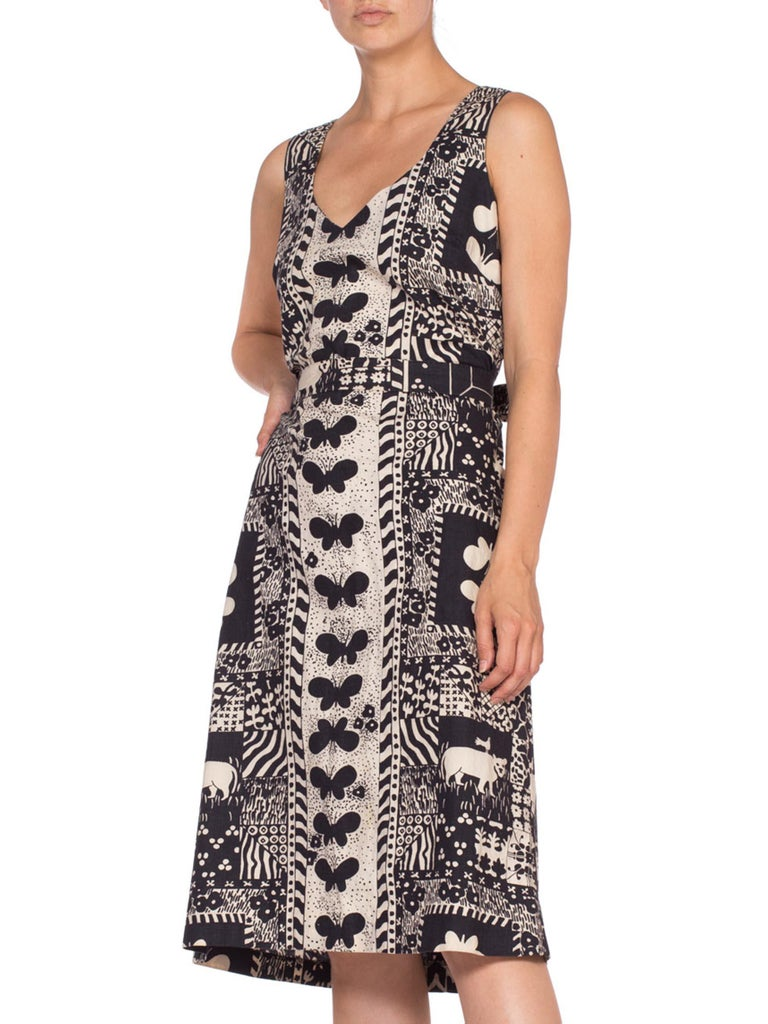 1960'S Black & White Cotton Scandinavian Print Dress