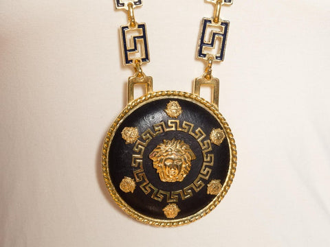 Gold Link Chain Big Versace Medusa Pendant Necklace
