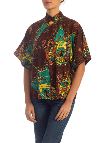 1940S Brown Tiki Tropical Cotton Short Sleeve Jacket Top With Raffia Button & Pockets