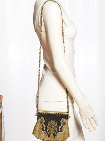 1920S 1920'S Metal Bag With Black Crystals & Crossbody