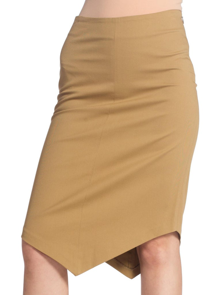 1990S Minimal Chino Khaki Stretch Cotton Pencil Skirt