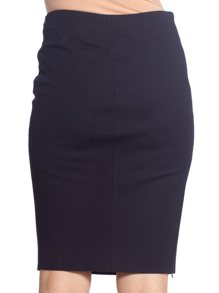 1990S Sexy Stretch Cotton Pencil Skirt With Zipper Slit