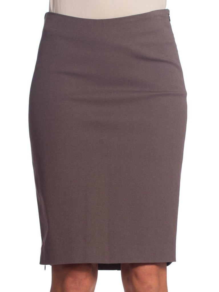 1990S Cotton Twill Slate Grey Pencil Skirt With Zipper Slit