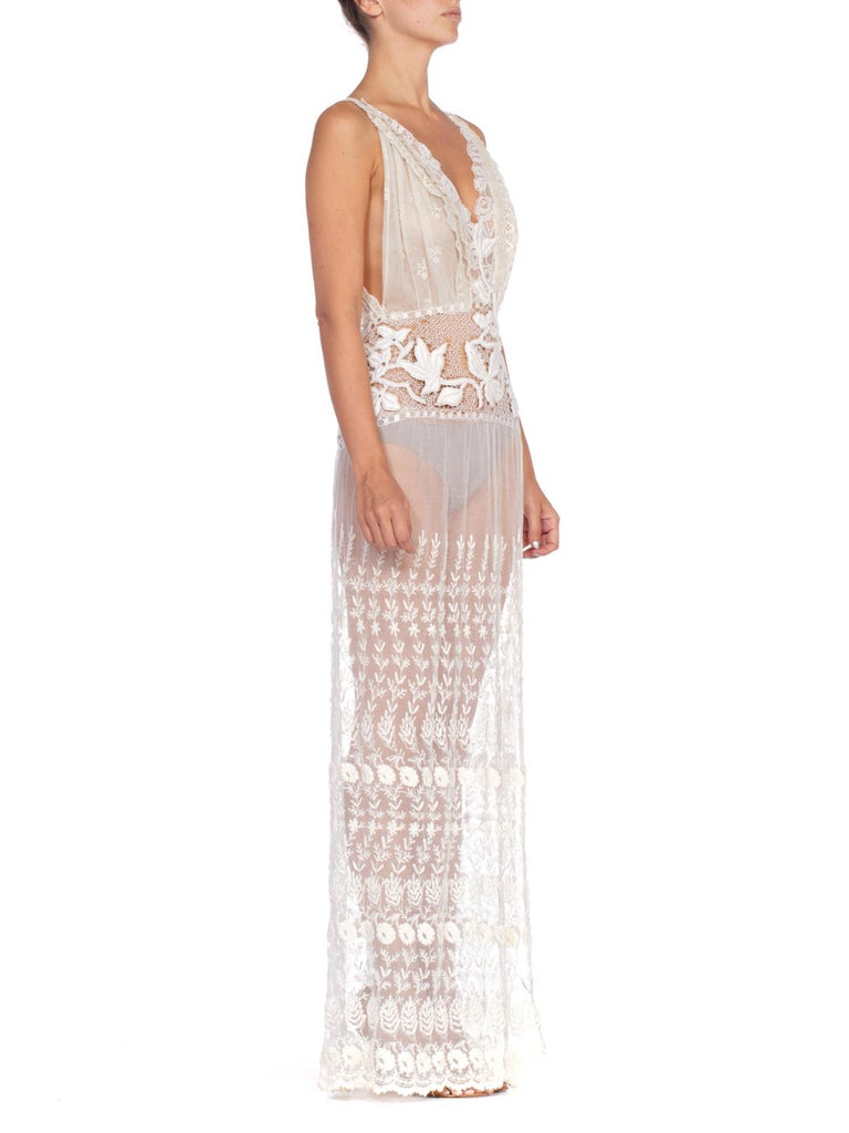 Morphew Collection White Hand Embroidered Cotton Net & Antique Handmade Lace Dress With High Slit
