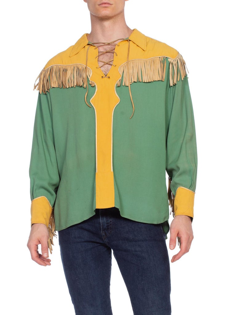 1940'S Green & Gold Rayon Rare Men's Gene Autry Rockabilly Western Cowboy Shirt With Leather Fringe