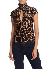Roberto Cavalli Animal Print Sexy Stretch Top