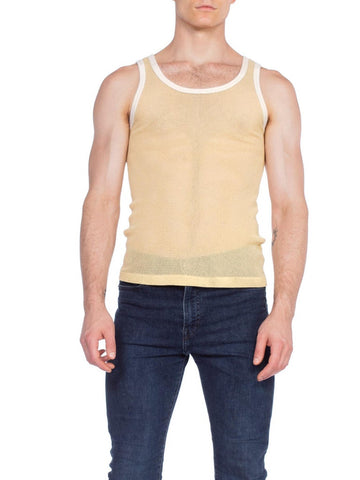 Mens 1960s 1970s Yellow Net Tank Undershirt