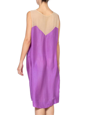 1920'S Purple Silk Slip Dress Perfect For Lace & Chiffon