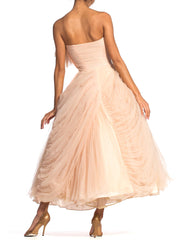 1950S 1950'S Pink Blush Draped Tulle Strapless Gown