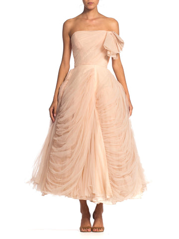 1950S Blush Pink Rayon & Nylon Tulle Draped Strapless Gown In The Style Of Dior Jean Dessés