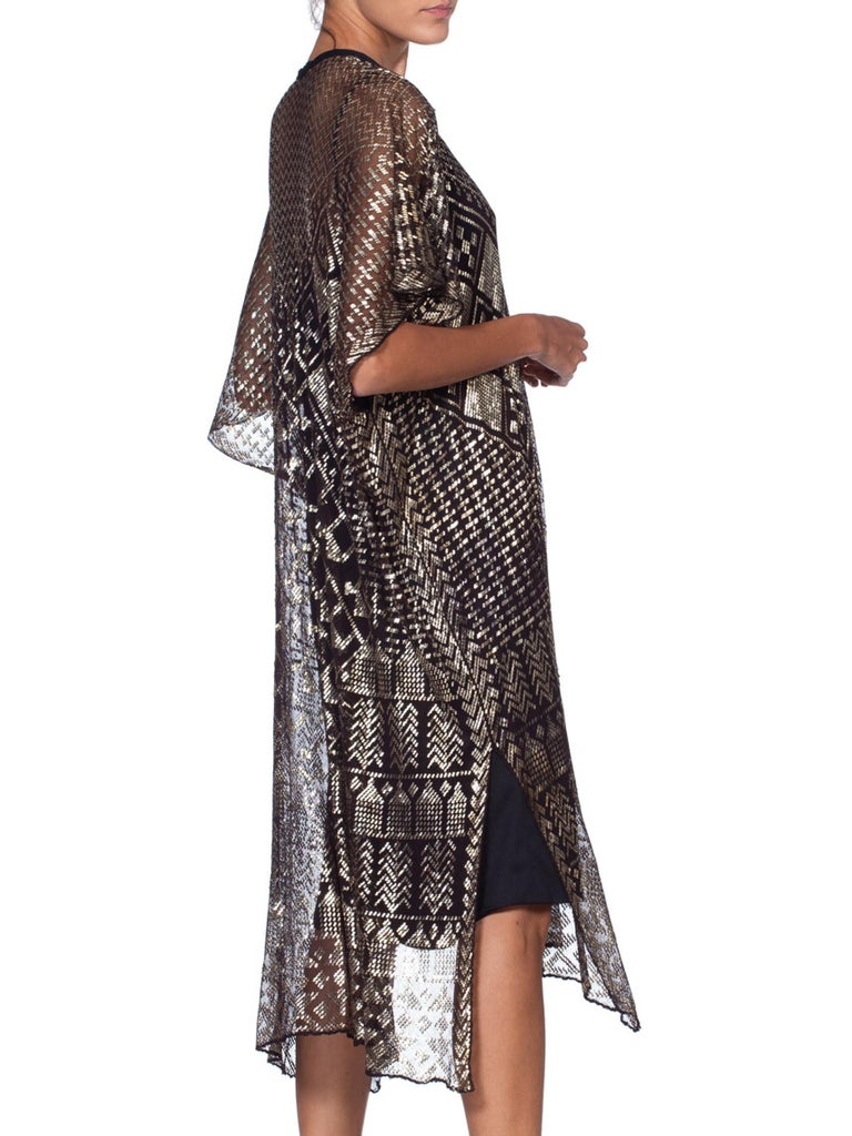 MORPHEW COLLECTION Silver & Black Cotton Net 1920S Egyptian Assuit Kaftan Dress